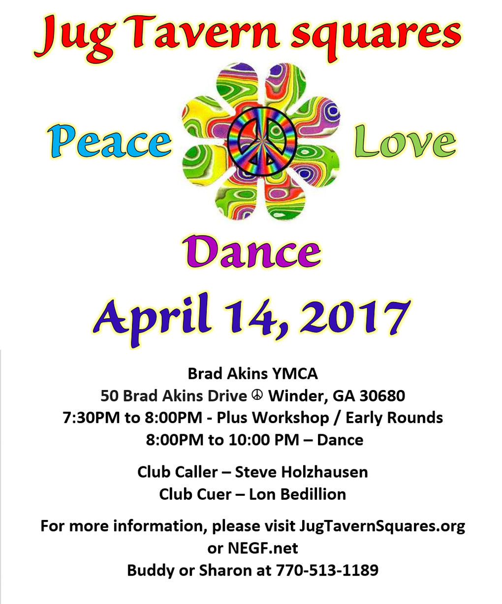 flyer for Peace, Love, Dance